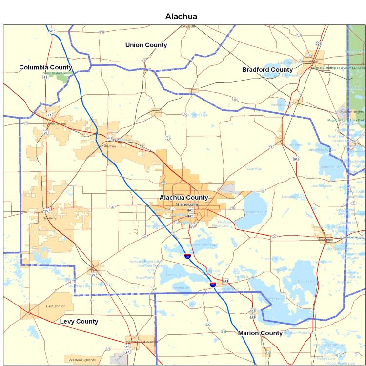 Alachua County Map Alachua County fl Map
