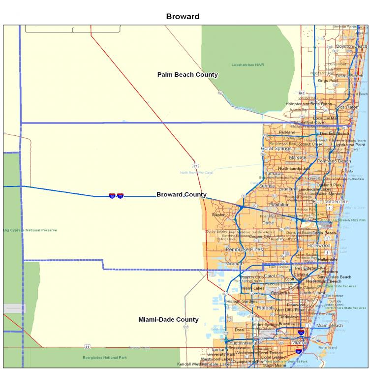 Map Of Broward County Florida.Broward County Fl Map Florida Map Map Of Florida Florida