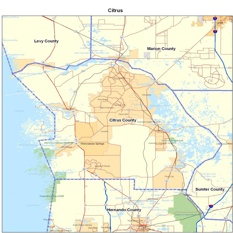 Florida City County Map.Citrus County Fl Map Florida Map Map Of Florida