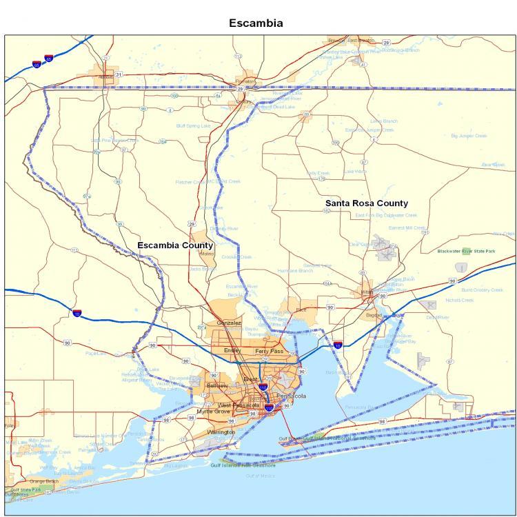 Santa Rosa Florida Map.Escambia County Fl Map Florida Map Map Of Florida Florida