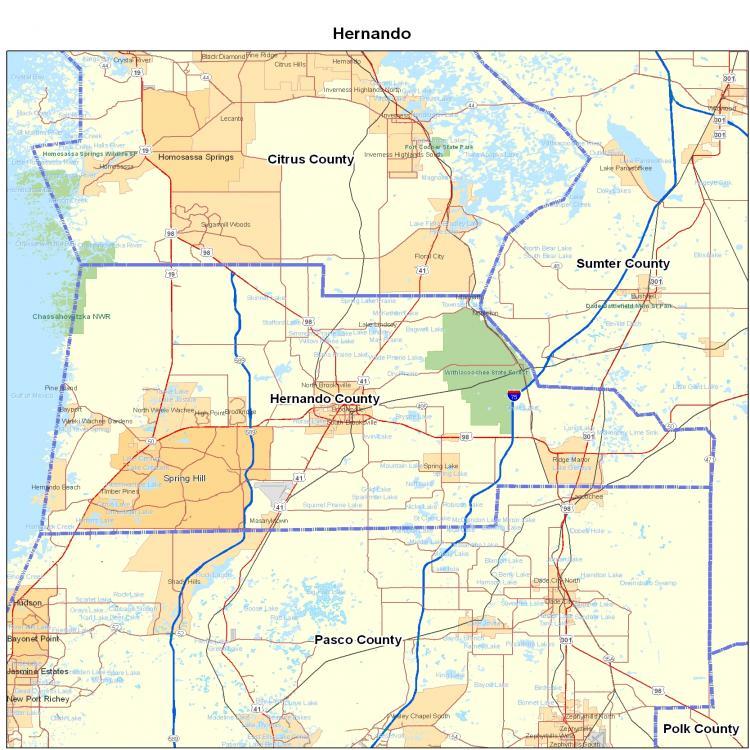 Hernando County FL Map  Florida Map  Map Of Florida
